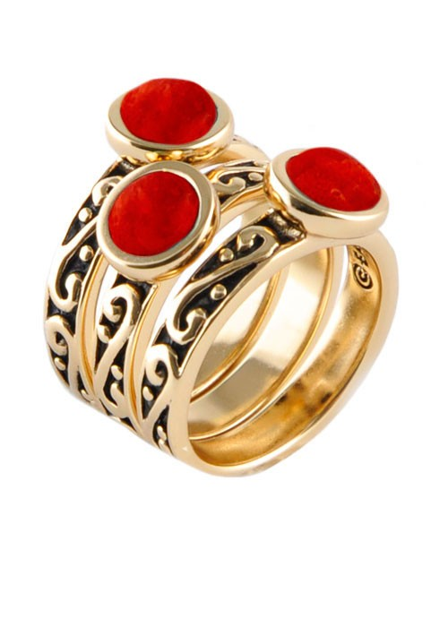 Round Red Howlite Triple Ring
