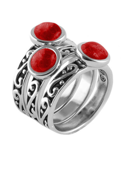 Round Red Howlite Triple Ring Silver