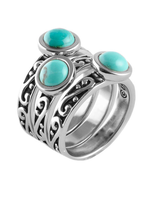 Round Turquoise Triple Ring Silver