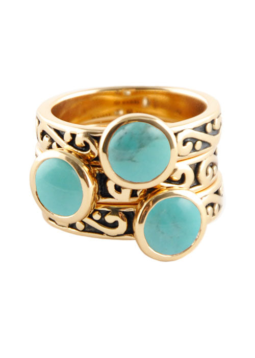 Round Turquoise Triple Ring