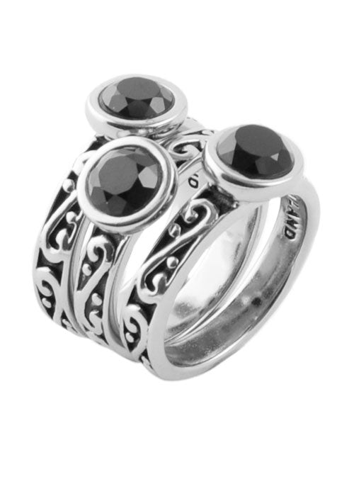 Round Onyx Triple Ring Silver