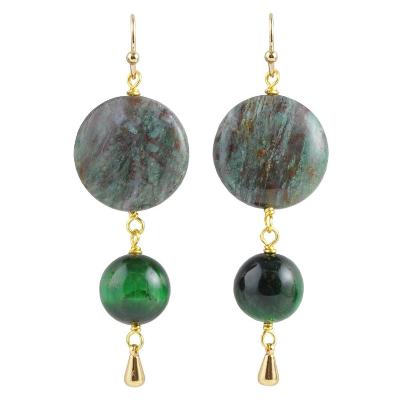 Eye of the Tiger Green Earring