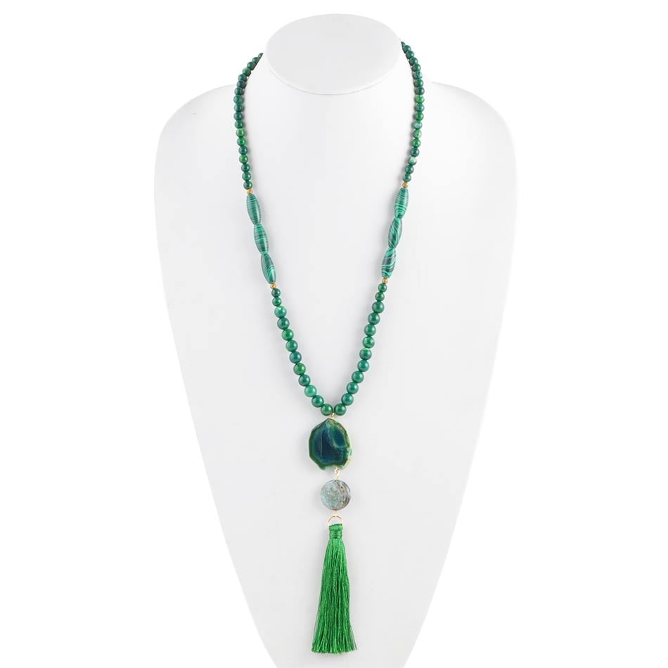 Silky Smooth Green Tassel Necklace