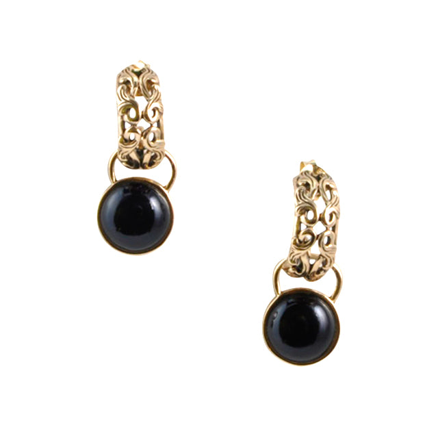 Bronze and Onyx Charm Earring
