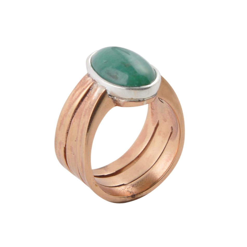 Turquoise and Hammered Copper Ring