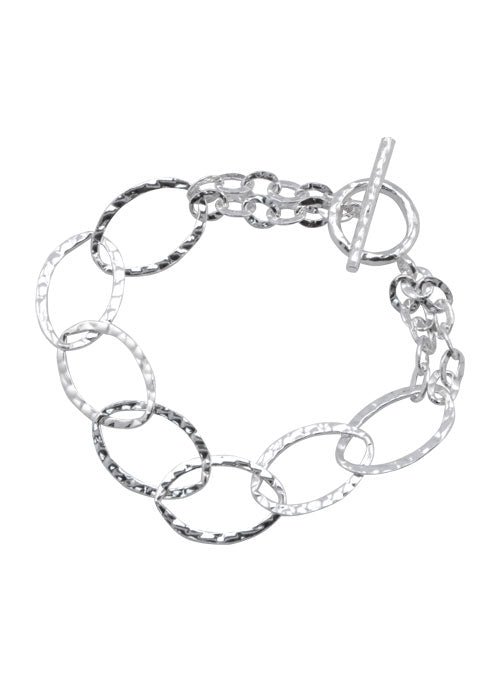 Hammered Sterling Link Bracelet