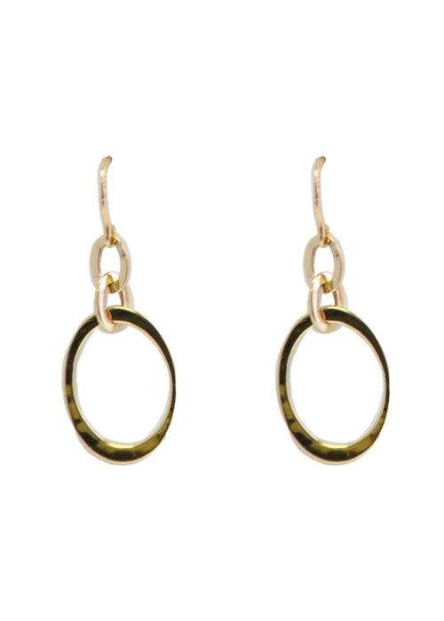 Hammered Oval Bronze Earring