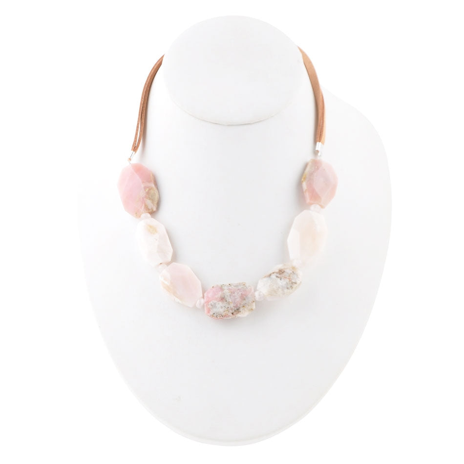Cheeky Necklace- Leather & Pink Opal