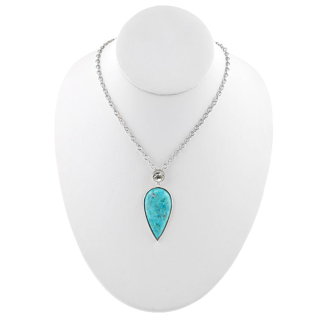 Audrey Turquoise and Crystal Necklace