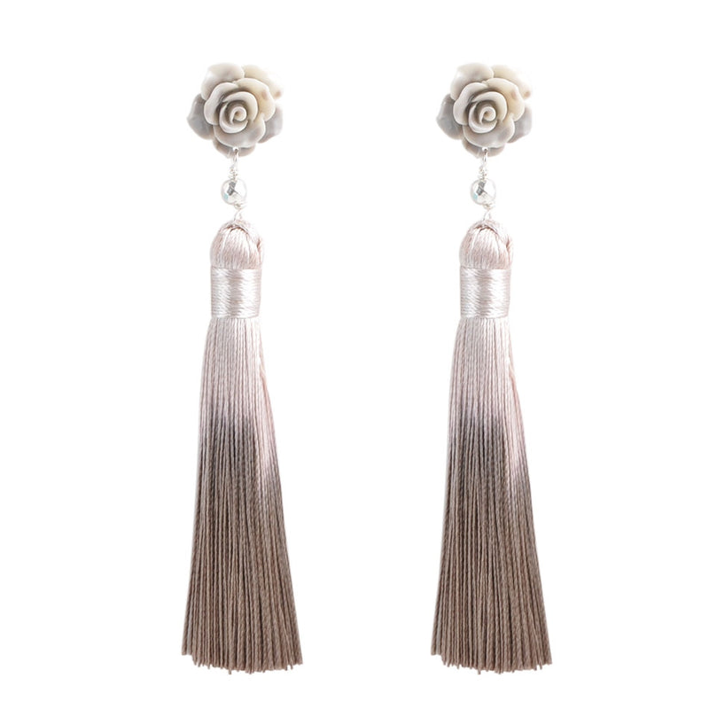 Ombre Rose Tassel Earring