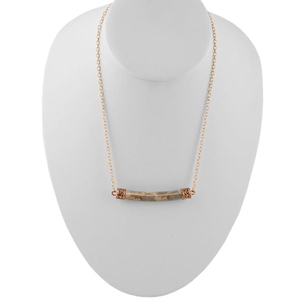 Horizon Bar Bronze Necklace-Feldspar Jasper