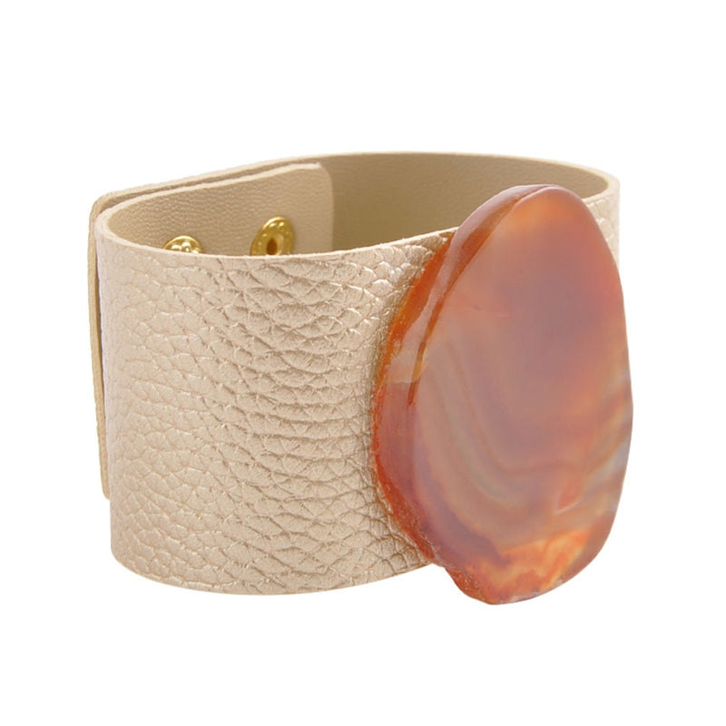 Sky High Leather and Agate Snap Cuff Bracelet