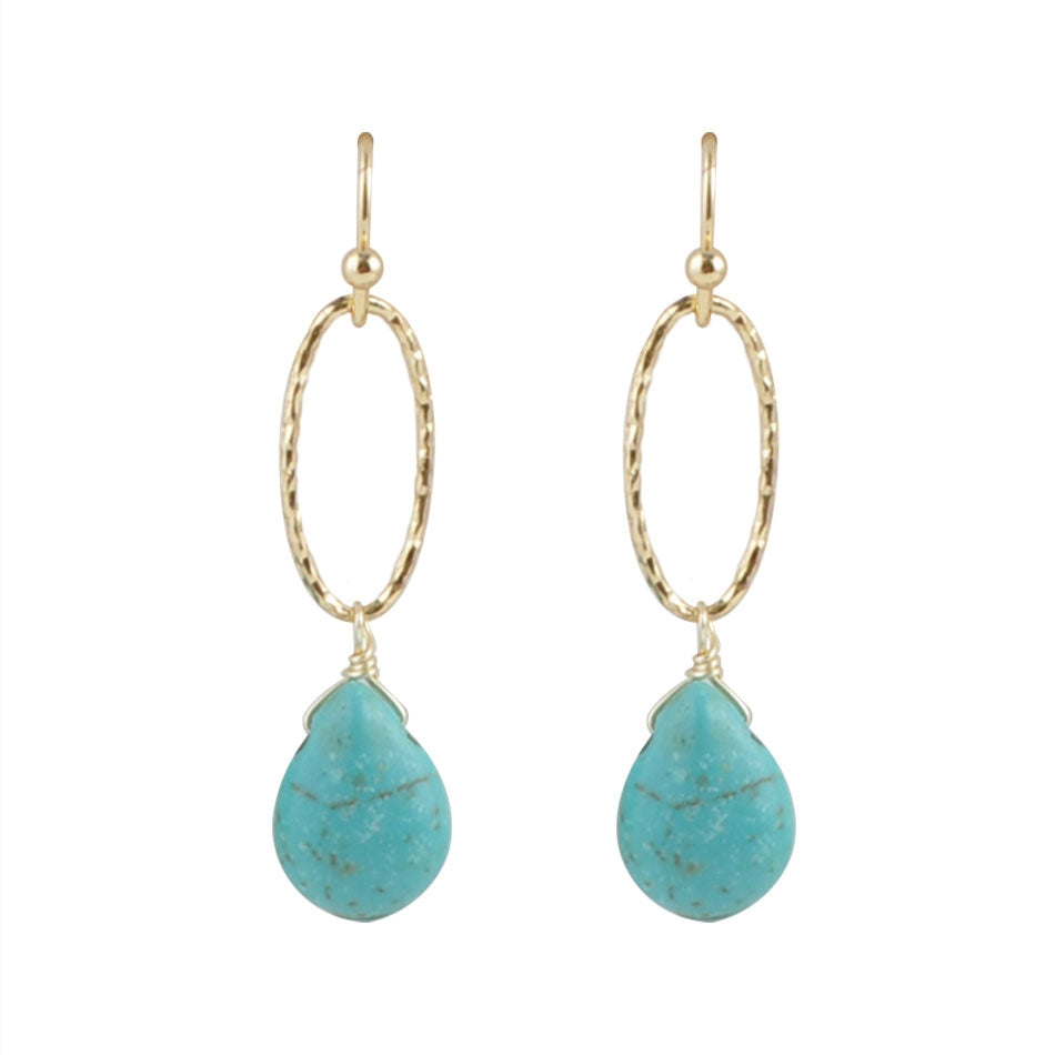 Sky Falls Bronze Earring-Turquoise