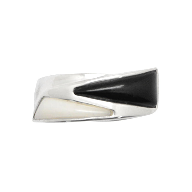 Ebony and Ivory Silver Ring