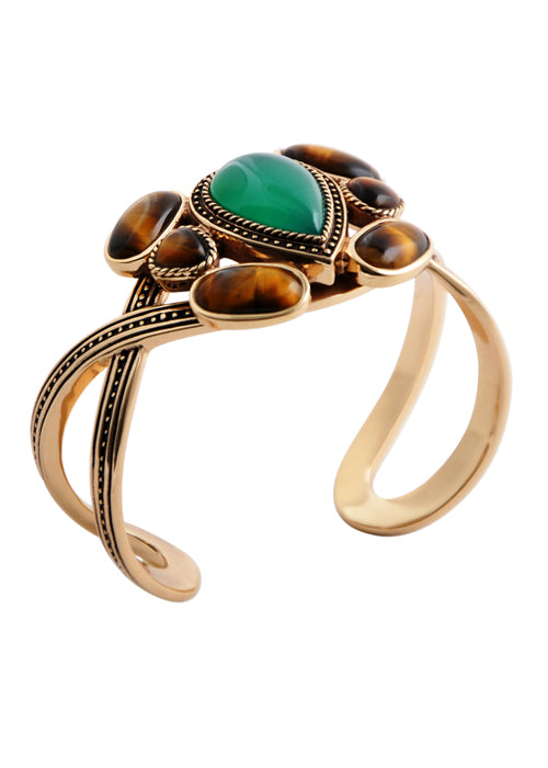 Tiger Eye and Green Onyx Cuff