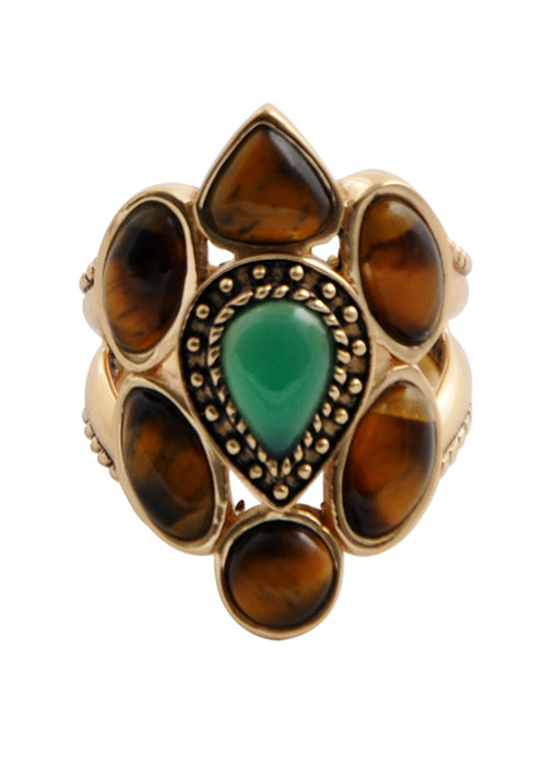 Tiger Eye and Green Onyx Ring