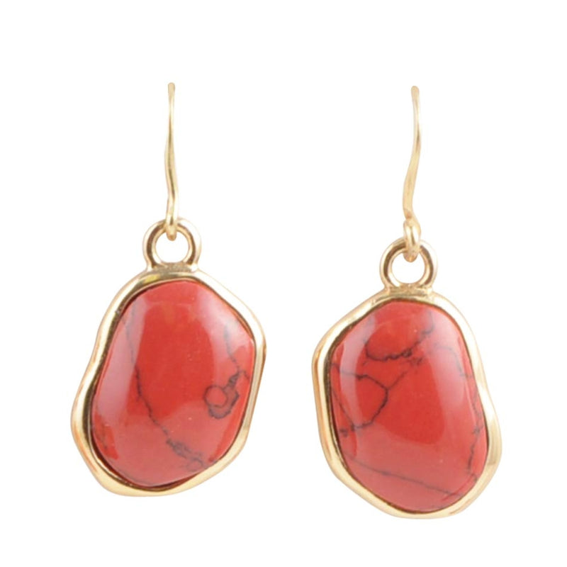 Abstract Red Howlite Earring