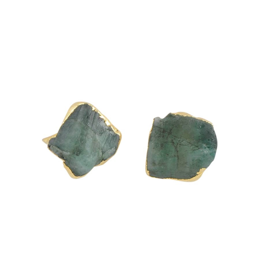 Raw Birthstone Stud Earring - Emerald - May