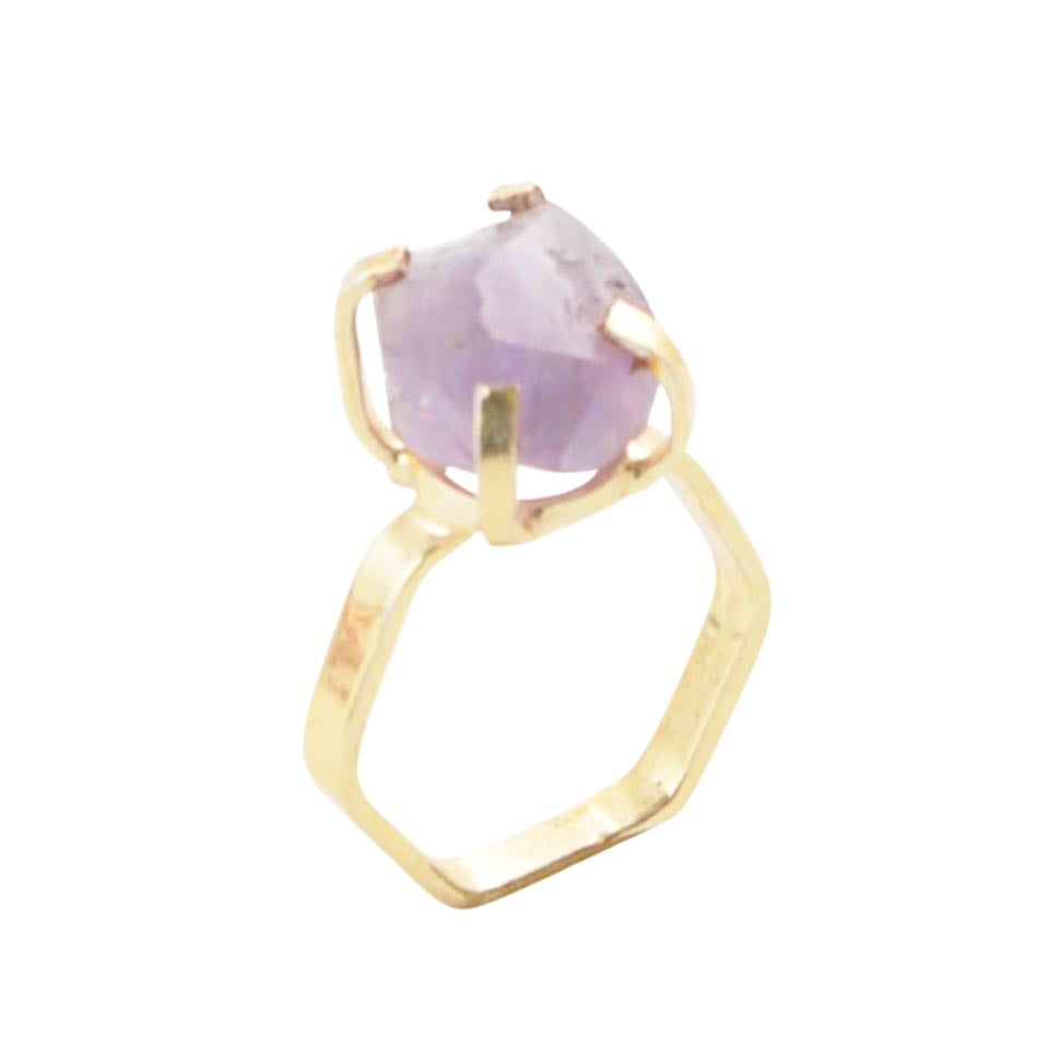 Lucky Six Gold Plated Ring - Amethyst