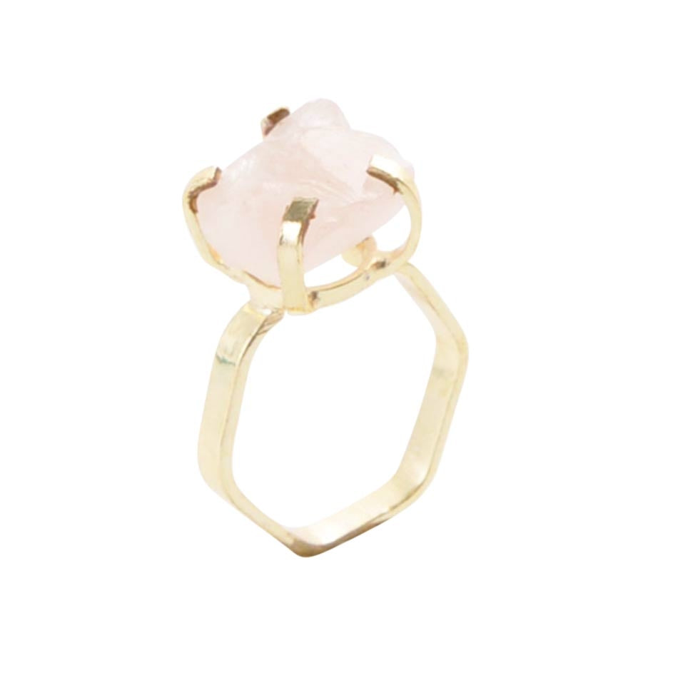 Lucky Six Gold Plated Ring - Rose Quartz