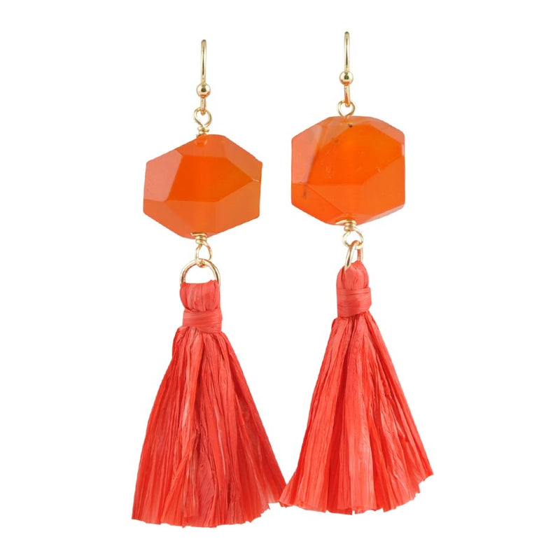 Raffia on Stone Earring - Carnelian Quartz