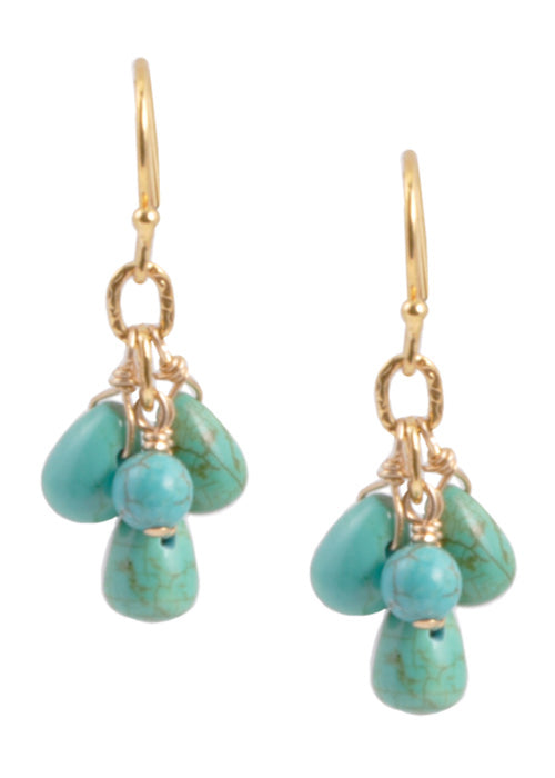 Turquoise Howlite Cluster Earring