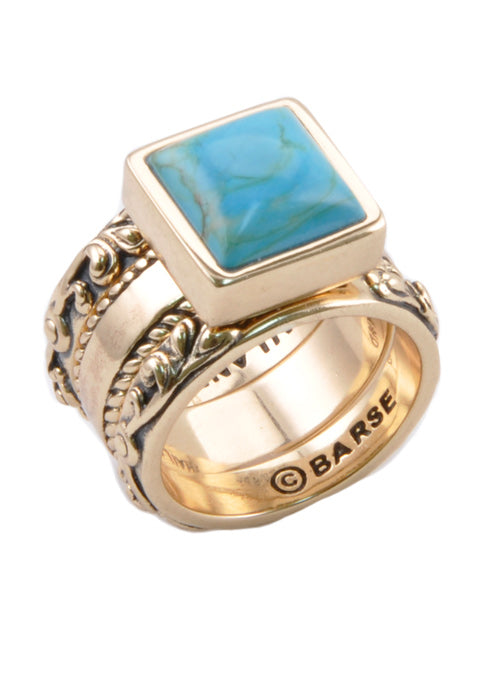 Turquoise Bronze Ring Set