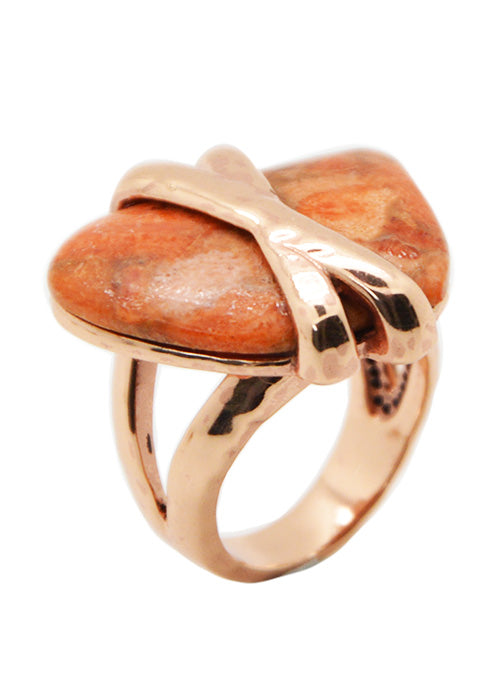 Hammered Copper and Coral Ring