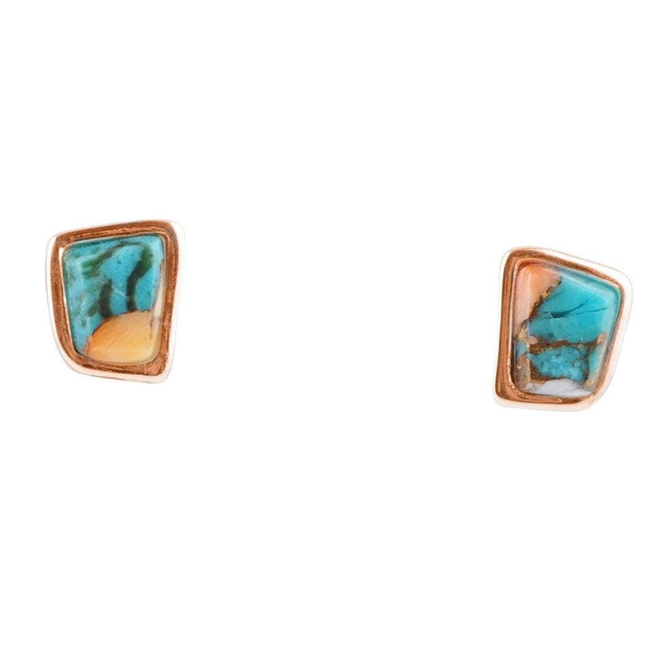 Fused Stone & Copper Stud Earring-Calcite, Turquoise and Spiny Oyster