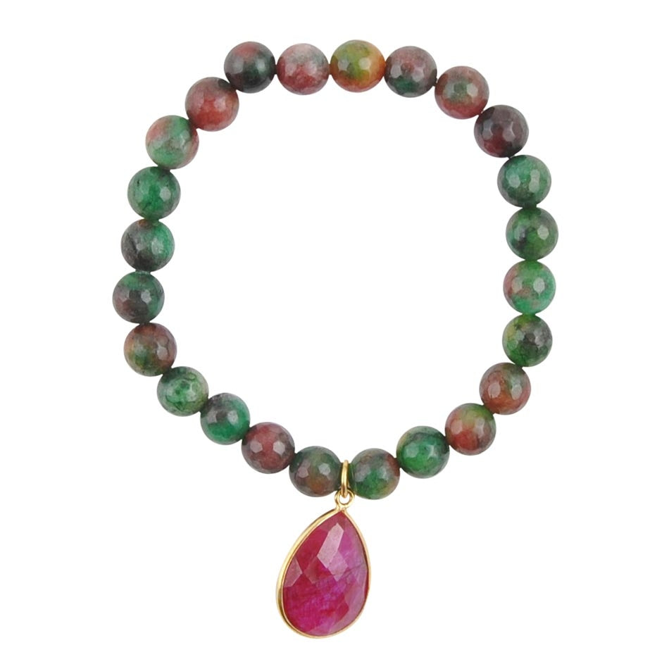 Agate and Corundum Stretch Bracelet