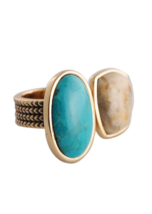 As Much Again Ring- Turquoise and Feldspar Jasper