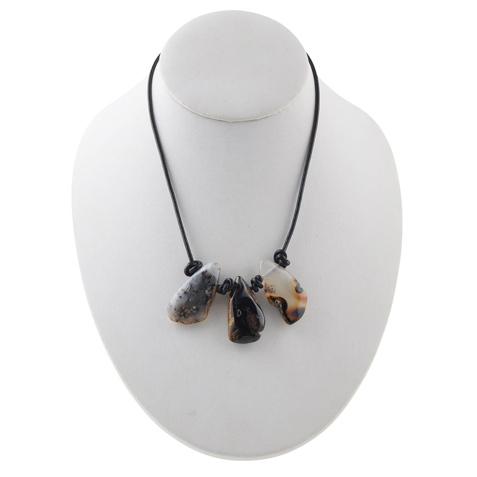 Agate and Leather Trio Necklace-Coffee Agate