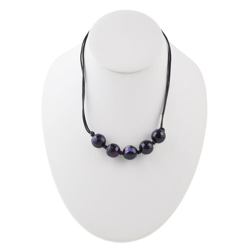 Deep Purple Leather and Bead Necklace-Purple Agate
