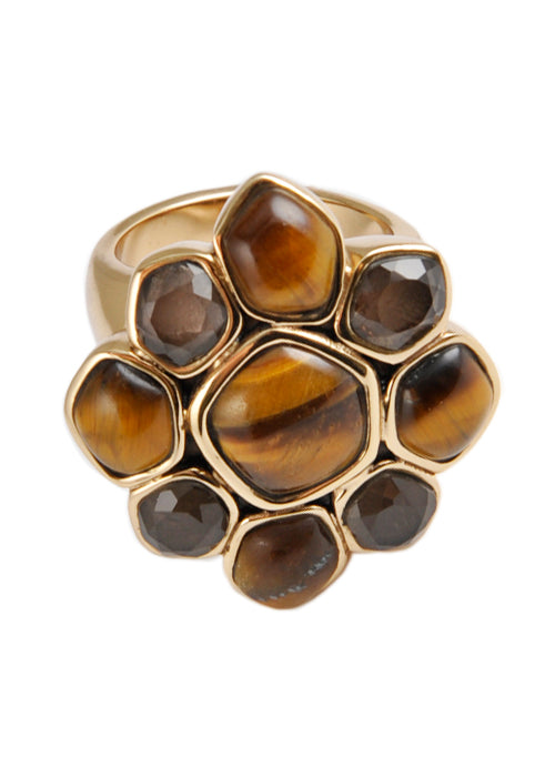 Tiger Eye Flower Ring