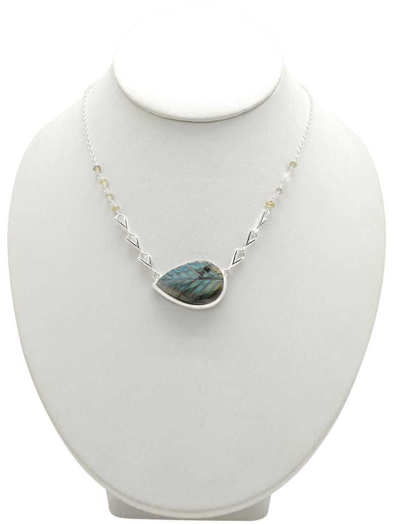 Natural Selection Labradorite and Sterling Leaf Necklace