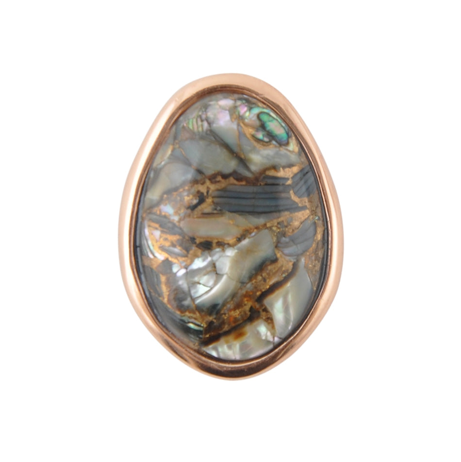 Abstract Abalone and Copper Ring
