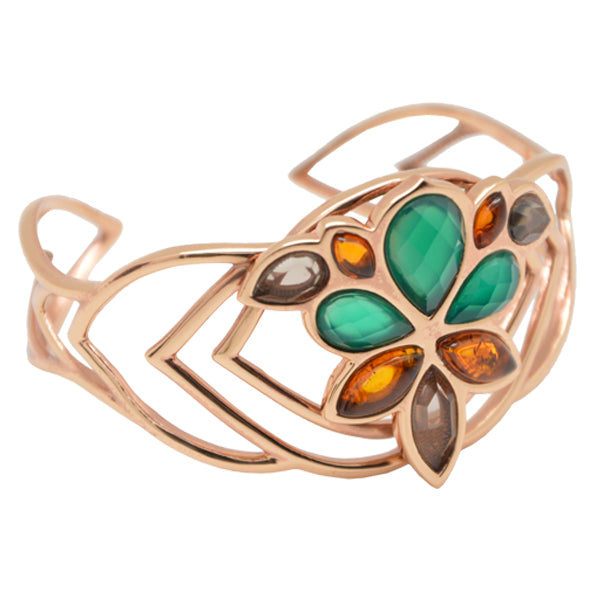 Lotus Cuff Bracelet-Mixed Stones and Copper