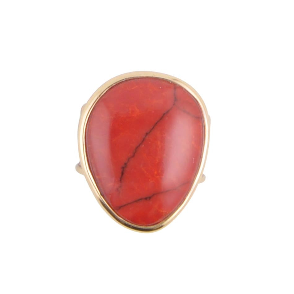 Red Coral and Bronze Ring