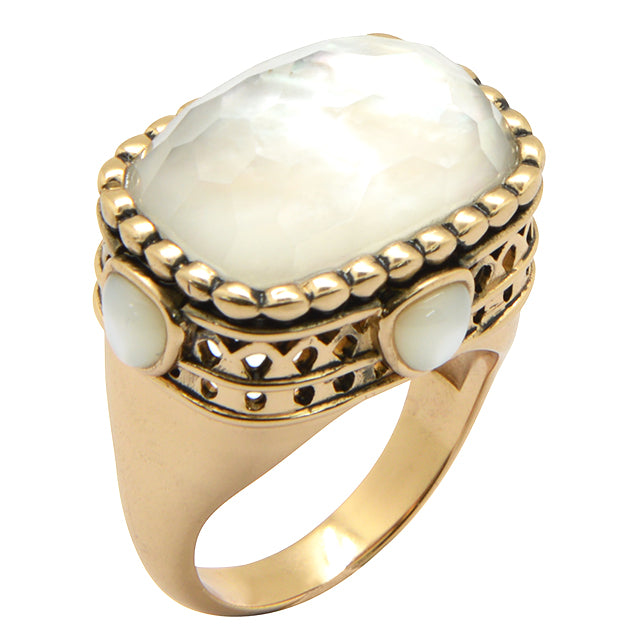 Iced Pearl Bronze Ring