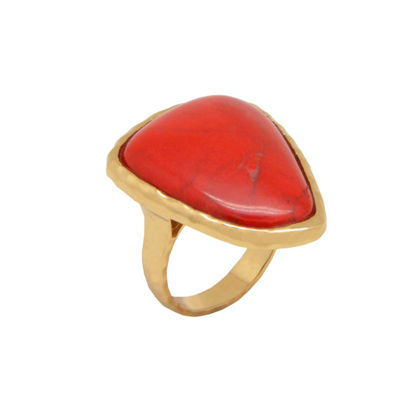 Red Howlite Bronze Ring