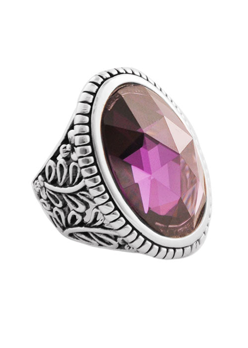 Amethyst Cubic Zirconia Oval Ring