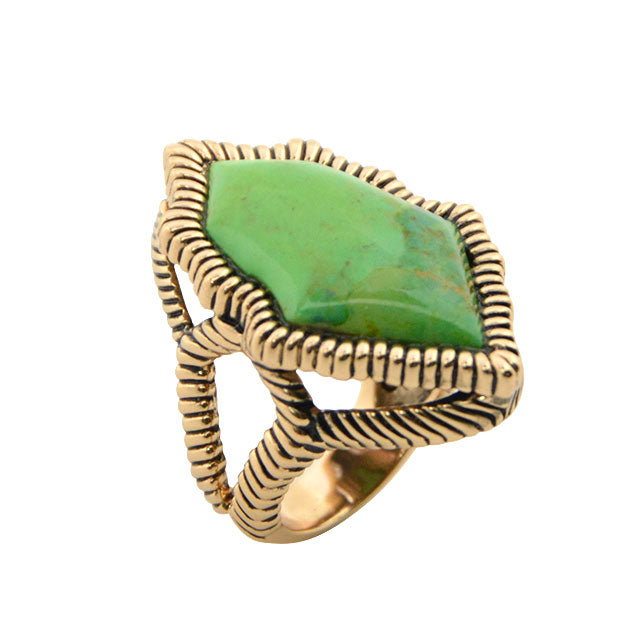 Lime Turquoise Texture Ring