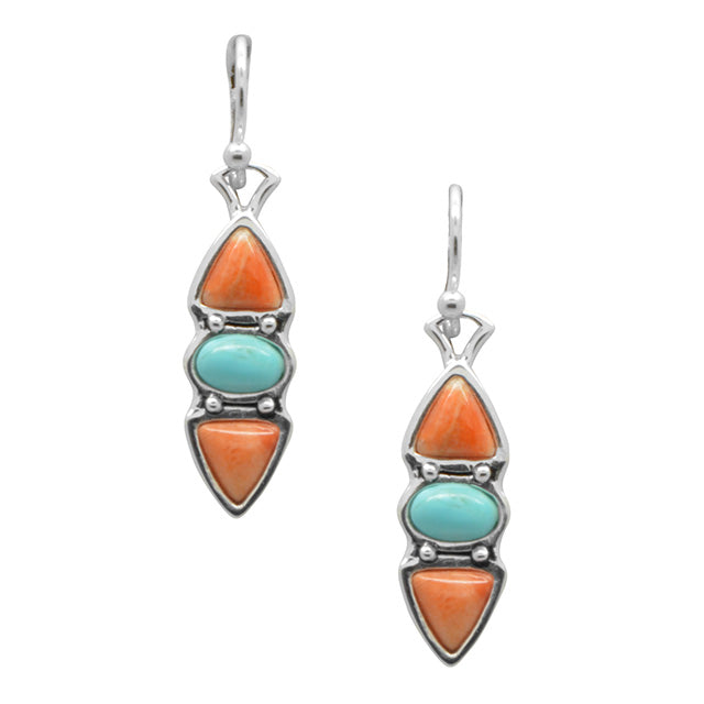 Hit a Triple Turquoise and Orange Coral Earring