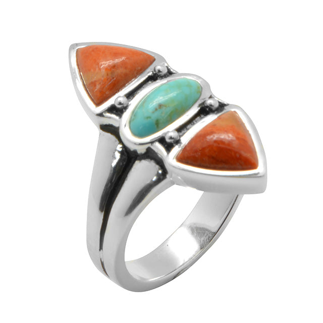 Tri-Stone Sponge Coral and Turquoise Ring