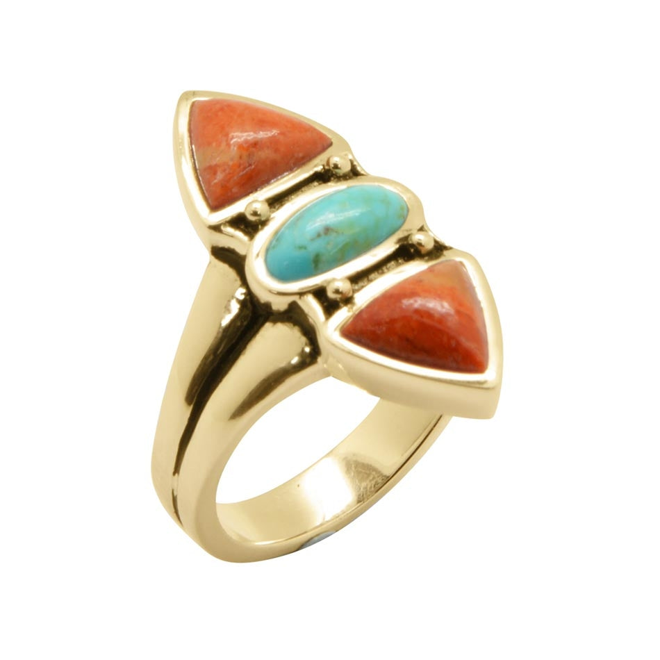 Tri-Stone Sponge Coral and Turquoise Bronze Ring