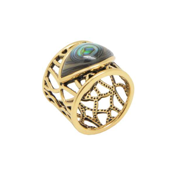 Abalone and Bronze Framework Ring