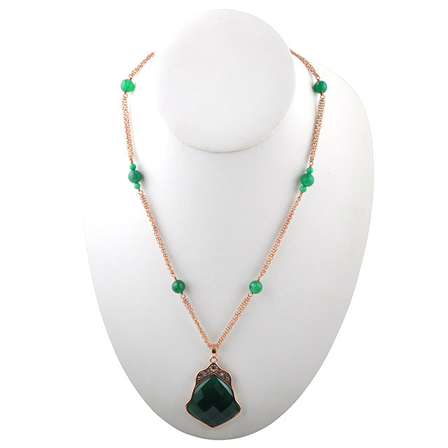 Green Onyx and Copper Necklace