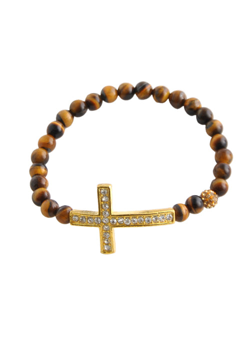 Stretch Cross Bracelet-Tiger Eye