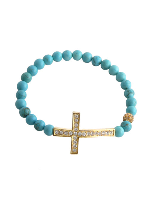 Stretch Cross Bracelet-Turquoise