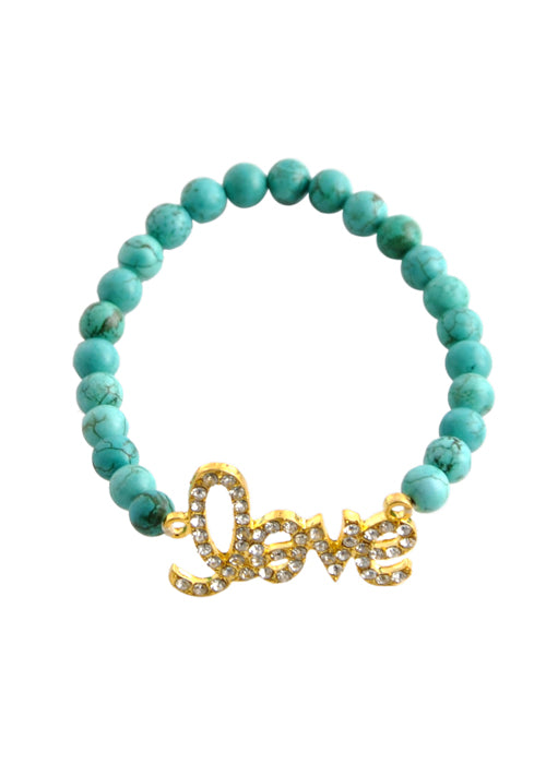 "Stretch ""Love"" Bracelet-Turquoise"